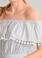 Agenda Çizgili Ponpon Detaylı Elbise Ekru